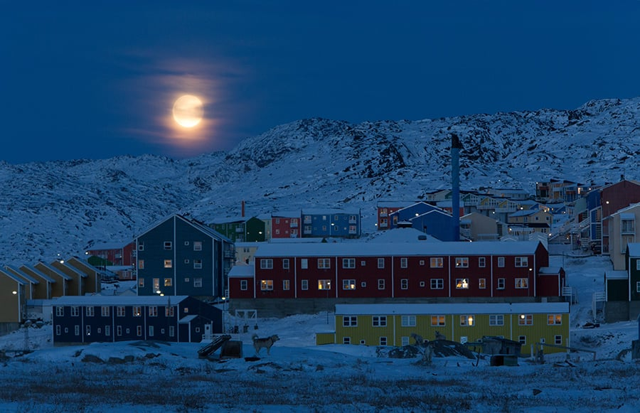 Snowshoe walk under the northern lights in Ilulissat, Greenland